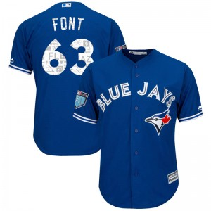 Youth Wilmer Font Toronto Blue Jays Replica Royal Cool Base 2018 Spring Training Jersey by Majestic