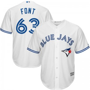 Youth Wilmer Font Toronto Blue Jays Replica White Cool Base Home Jersey by Majestic